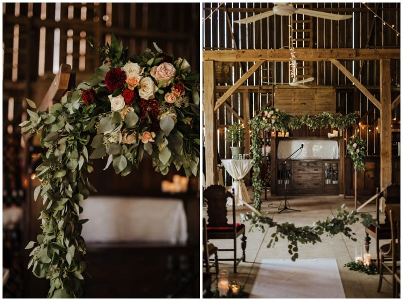 Clewell Photography, The Barns of Lost Creek, fall wedding, fall floral, fall wedding floral, burgundy wedding floral, burgundy bouquet, warm bouquet, Artemisia Studios, Minneapolis wedding florist, Minnesota wedding florist, Wisconsin wedding florist, rustic wedding floral, blue bridesmaids dresses