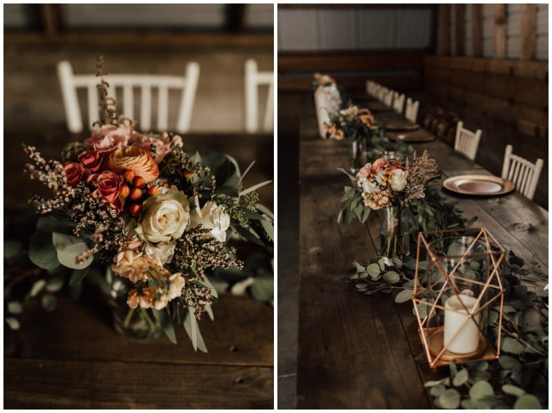 Kiana Grant Photography, The Cottage Farmhouse, rustic wedding, vintage wedding, donut wall, pink blooms, warm bouquet, colorful bouquet, barn wedding, Artemisia Studios, Minneapolis wedding florist, Minnesota wedding florist