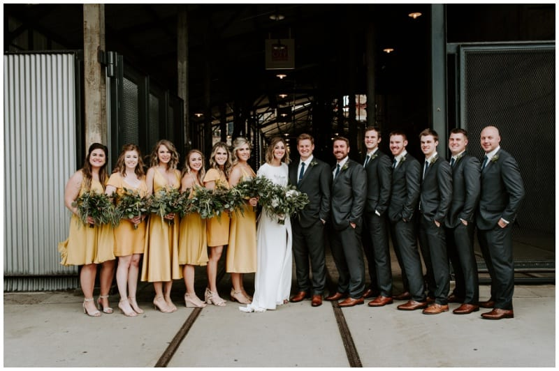 Mill City Museum, museum wedding, unique wedding venues, Minneapolis wedding, Ali Leigh Photography, historical wedding venues, Minneapolis wedding florist, Minnesota wedding florist, yellow wedding, yellow bridesmaids, greenery, green bouquets, greenery bouquets, wedding inspiration, Artemisia Studios, Minneapolis wedding florist