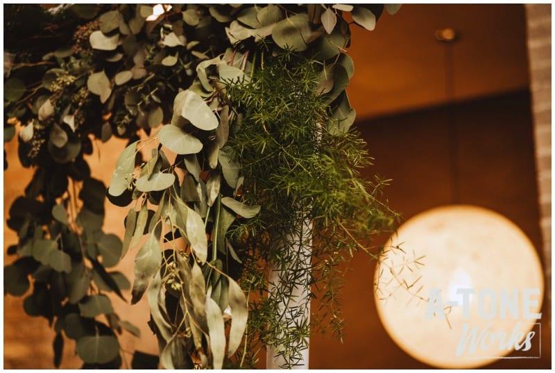 Five Event Center, A-Tone Works, winter wedding, indoor wedding, unique wedding venues, Minneapolis wedding venues, blush wedding, greenery, winter flowers, winter floral, Artemisia Studios, Minneapolis wedding florist, Minneapolis wedding flowers