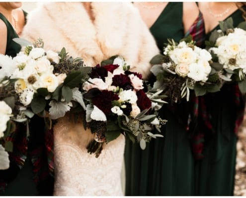 Minneapolis Event Centers, Tandem Tree, burgundy wedding, green wedding, emerald green wedding, festive wedding flowers, burgundy flowers, winter wedding, winter flowers, winter bouquet, winter bride, Artemisia Studios, Minneapolis wedding florist, Minnesota wedding florist