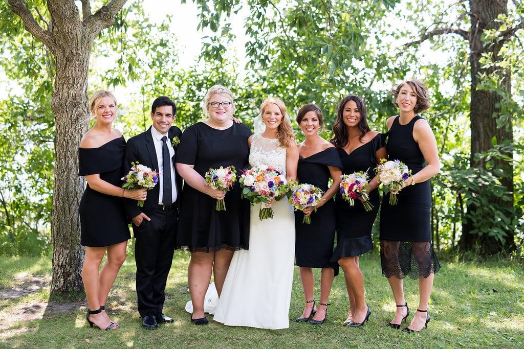 PAIKKA, Callie V Photography, colorful bouquet, colorful flowers, vibrant wedding flowers, black bridesmaids dresses, wedding details, Minneapolis wedding florist, PAIKKA wedding florist, Minnesota wedding florist, Artemisia Studios