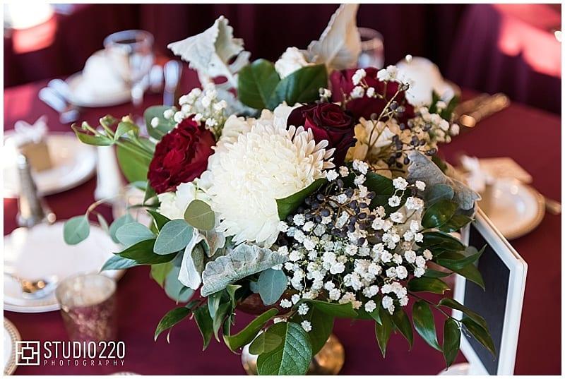 Studio 220 Photography, Rush Creek Golf Course, burgundy wedding, merlot wedding, wedding flowers, winter wedding, winter flowers, winter floral, burgundy flowers, burgundy floral, golf course wedding, bride, groom, bridal bouquet, burgundy bouquet, winter bouquet