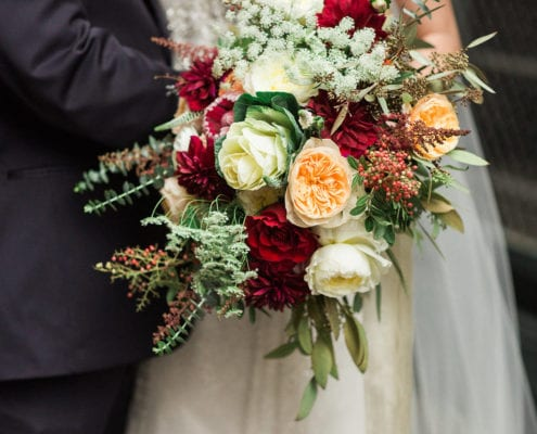 Lowertown Event Center, wedding, winter wedding, January wedding, red wedding, wedding inspiration, wedding flowers, winter wedding floral, winter wedding flowers, winter wedding inspiration, Saint Paul wedding florist, St. Paul wedding florist, Artemisia Studios