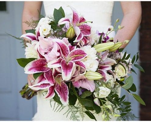 Patrick Clancy Photography, Scandia wedding, New Ulm wedding, lilies, pink lilies, stargazer lily, bridal bouquet, bouquet, bride, pink and purple wedding, Minneapolis wedding florist, Minnesota wedding florist, Artemisia Studios