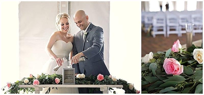 Craig Dirkes Photography, Stoneridge Golf Club, Minnesota wedding, Minneapolis wedding florist, wedding florist, Artemisia Studios, flowers, floral, wedding floral, wedding ceremony, tent wedding, unity ceremony, ceremony floral, floral decor