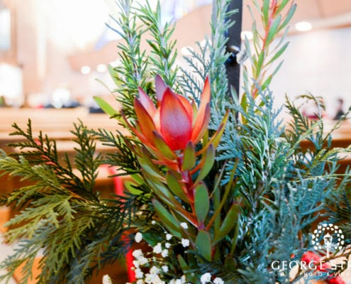 George Street Photography, winter wedding, winter wedding floral, church wedding, wedding reception decor, aisle swag, church wedding decor, burgundy wedding, burgundy wedding floral, winter wedding floral