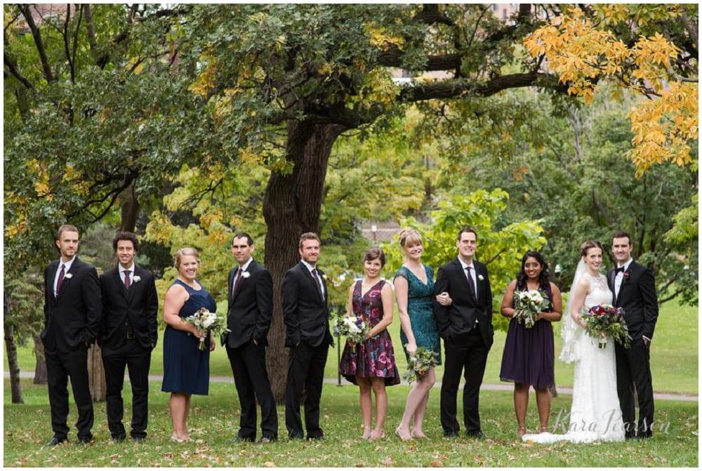 Kara Pearson Photography, Semple Mansion, fall wedding, Minneapolis wedding, fall flowers, fall floral, Artemisia Studios, boutonnieres, florist, bridal bouquet, bridesmaids, groomsmen, bride, groom