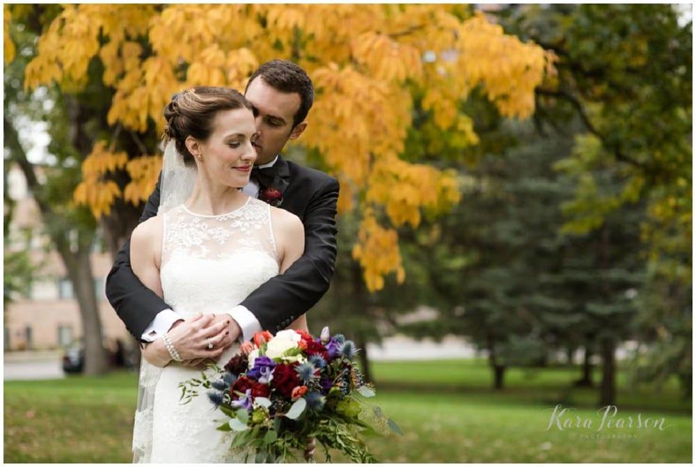 Kara Pearson Photography, Semple Mansion, fall wedding, Minneapolis wedding, fall flowers, fall floral, Artemisia Studios, boutonnieres, florist, bridal bouquet, bride, groom, wedding photos