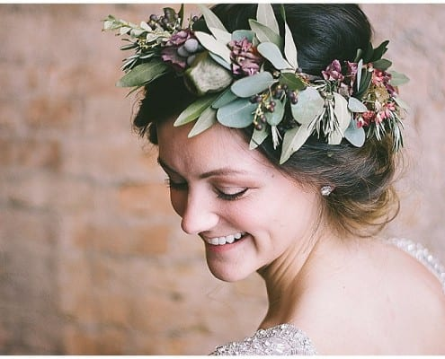 floral hair wreath, bride, bridal look, bridal style, wedding, flowers