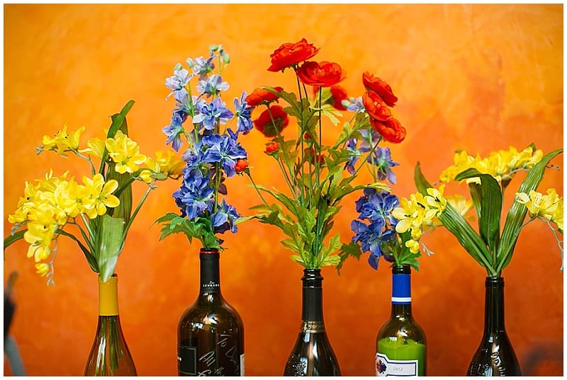 Vic's, wedding, reception, flowers, floral, centerpieces, orange, red, purple, yellow, summer flowers