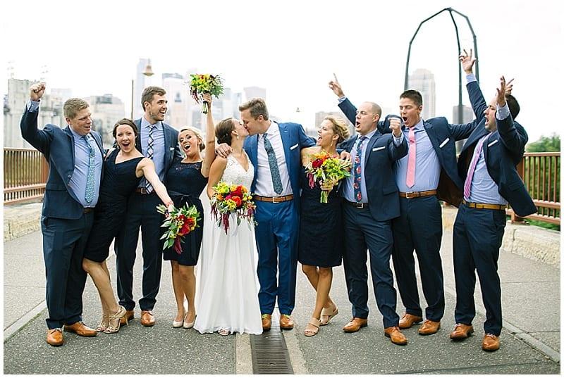 Stone Arch bridge, bridal party, flowers, floral, summer wedding, summer flowers, wedding, navy wedding