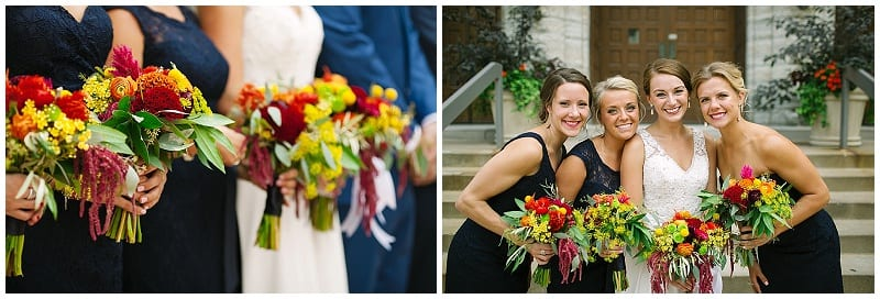 westminster presbyterian church, bridal party, navy dresses, bridesmaids, bridesmaids dresses, bridesmaids bouquets, summer flowers, bright flowers, wedding