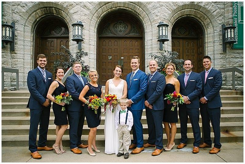 westminster presbyterian church, navy wedding, summer wedding, bride, groom, bridal party, navy bridesmaids, bridesmaids dresses, navy suits