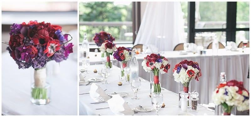 Olympic Hills Golf Club, reception, wedding, flowers, bridesmaids bouquets