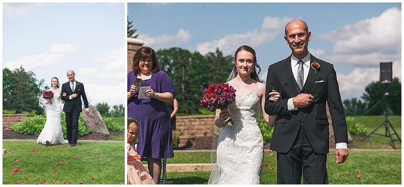 Olympic Hills Golf Club, bride, father of bride, walk down aisle, wedding, outdoor ceremony