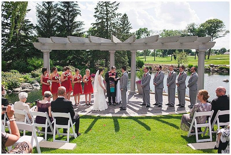 Olympic Hills Golf Club, wedding, ceremony, outdoor wedding ceremony, bridesmaids, bride, groom, vows, groomsmen