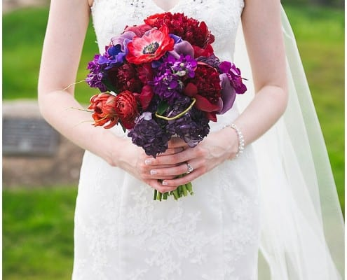 Olympic Hills Golf Club, bridal bouquet, flowers, floral, wedding, purple, red