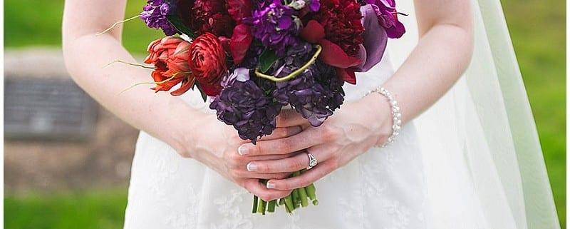 Olympic Hills Golf Club, bridal bouquet, flowers, floral, wedding, purple, red