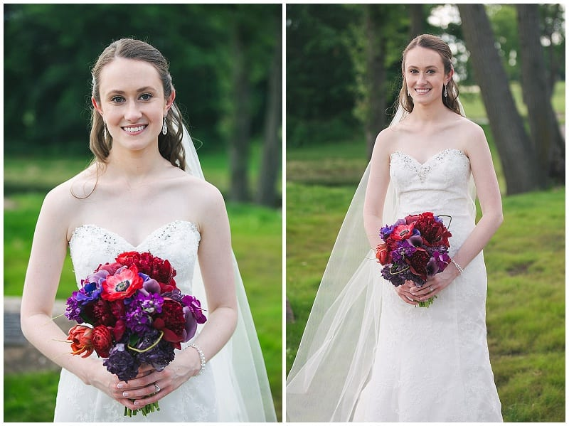 Olympic Hills Golf Club, bride, bridal bouquet, red, purple, flowers, floral