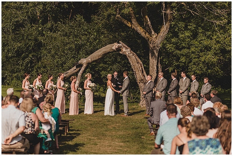 View More: http://julesandcait.pass.us/kaylalincoln Hope Glen Farm, wedding, wedding ceremony, tree, bride, groom, bridal party