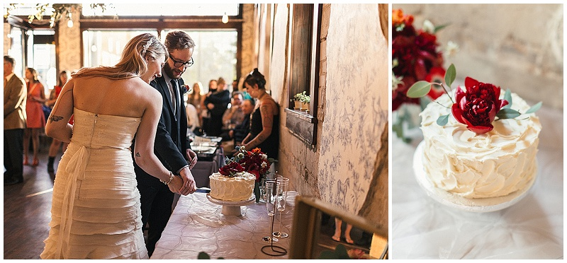 Jules + Cait Photography, Lakewood Cemetery Memorial Chapel, Lakewood Cemetery Chapel, Copper Hen, bride, groom, cake, wedding cake