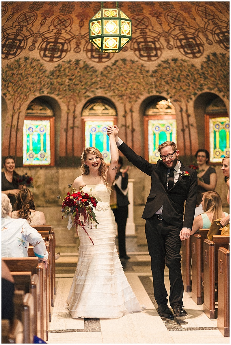 Jules + Cait Photography, Lakewood Cemetery Memorial Chapel, Lakewood Cemetery Chapel, ceremony, bride, groom, bridal bouquet, fall wedding