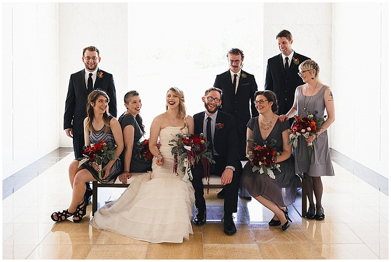 Jules + Cait Photography, Lakewood Cemetery Memorial Chapel, Lakewood Cemetery Chapel, bridal party, bride, groom, fall wedding, fall floral, fall flowers, groomsmen, bridesmaids