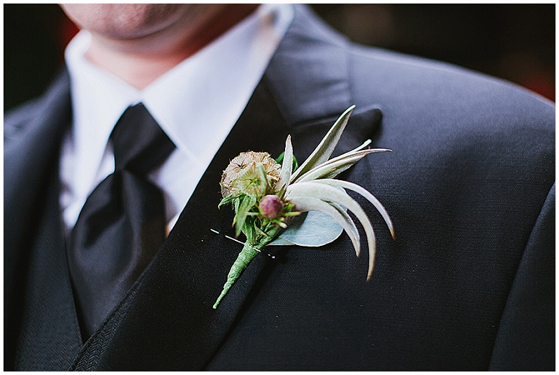 Artemisia Studios, Minneapolis wedding florist, Natalie Champa Photography, boutonniere, brown scabiosa pod, winter flowers, floral, weddings