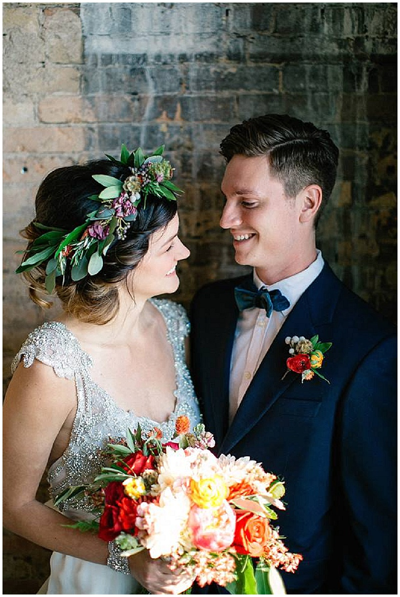 J.Louise Photography, Rachel Marie Photograpie, Aster Cafe, Artemisia Studios, Aster Cafe styled shoot, bride, groom, bridal bouquet, hair wreath, boutonniere, flowers, floral